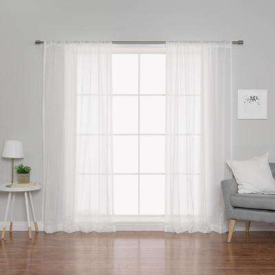 84 in. L Sheer Faux Linen Textured Curtains in White (2-Pack)