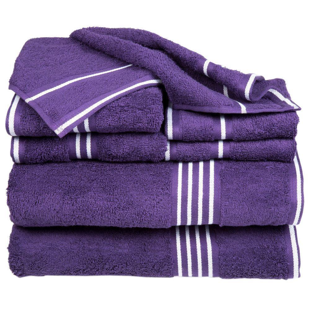 Rio 8 Piece Purple Solid Cotton Bath Towel Set