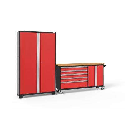 Bold 3.0 77.25 in. H x 104 in. W x 18 in. D 24-Gauge Welded Steel Stainless Steel Worktop Cabinet Set in Red (2-Piece)