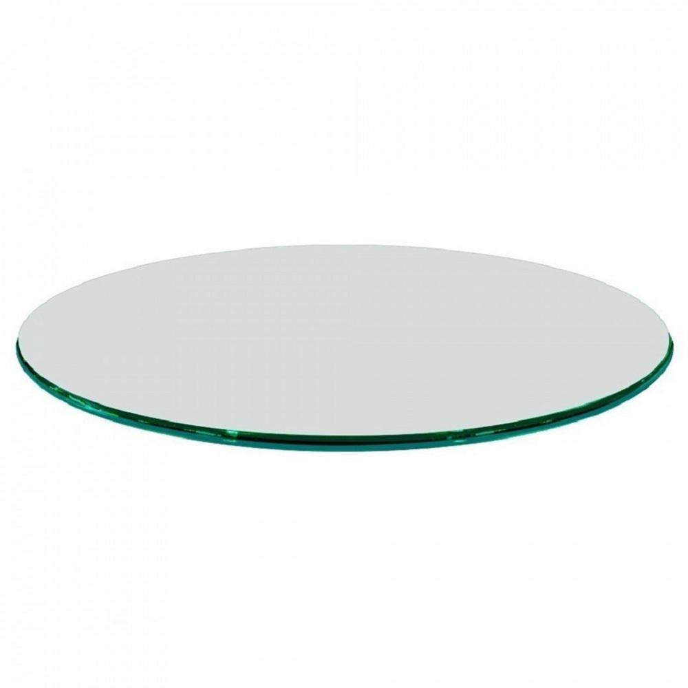 Clear Round Glass Table Top, 3/4 In. Thickness Tempered Ogee Edge Polished