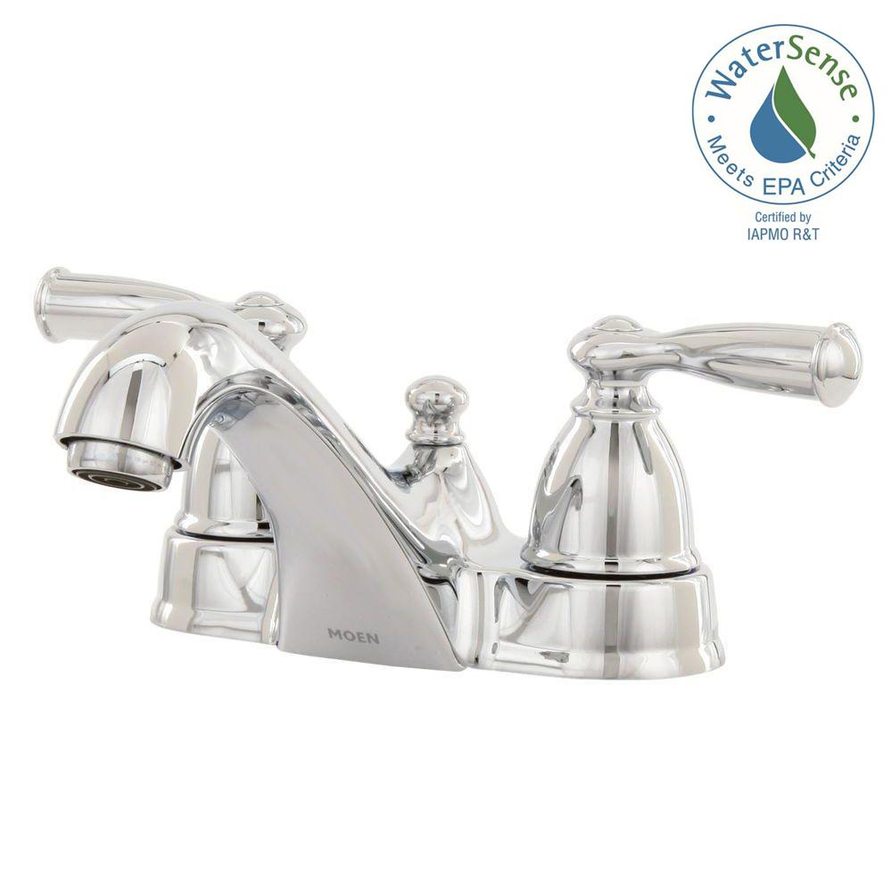 Attrayant MOEN Banbury 4 In. Centerset 2 Handle Low Arc Bathroom Faucet In Chrome