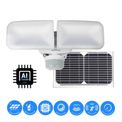 10-Watt White Solar Powered Dual Head Motion Activated Outdoor Integrated LED Flood Spot Light