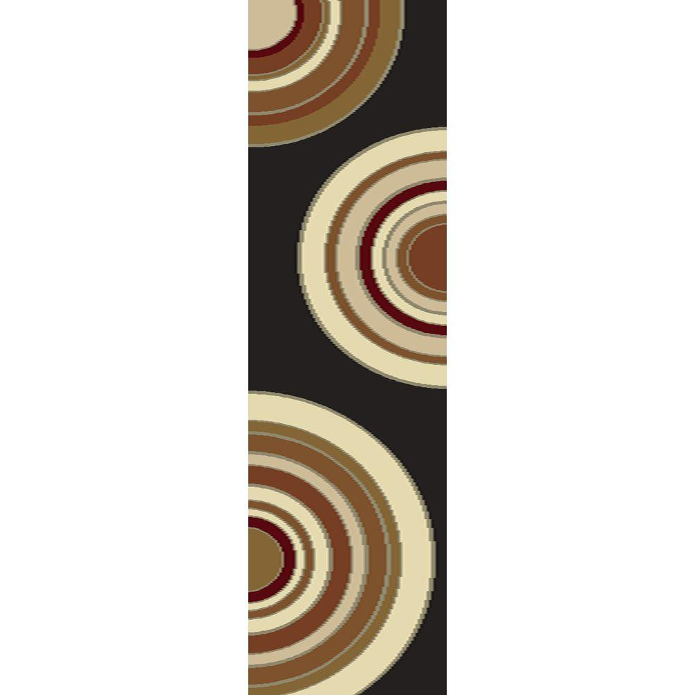 Home Decorators Collection Circlets Black 2 ft. x 7 ft. 6 in. Shag Rug Runner