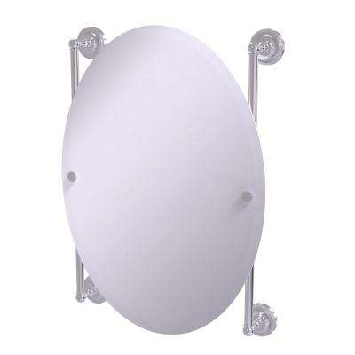 Prestige Regal Collection Oval Frameless Rail Mounted Mirror in Satin Chrome