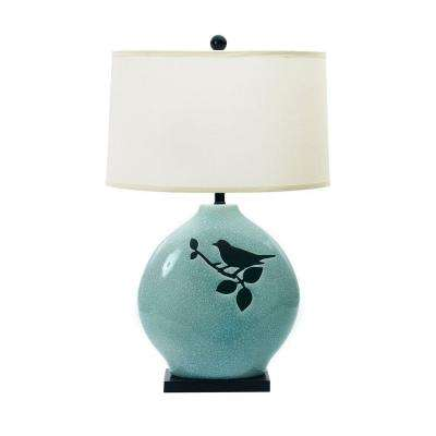 30 in spa blue crackle with bird ceramic table lamp
