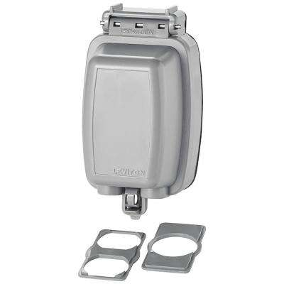 Decora/GFCI 1-Gang Extra Heavy Duty Raintight While-In-Use Device Mount Vertical Cover with Lid, Gray