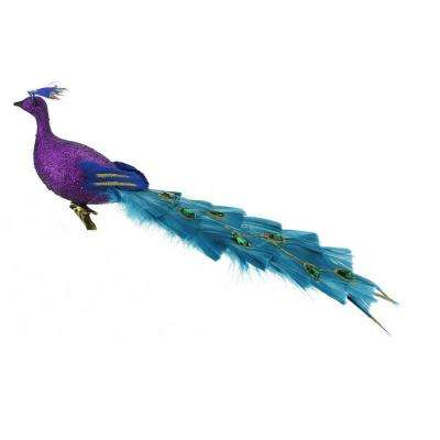 12 in. Regal Peacock Glittered Purple  Green and Blue Bird Clip-On Christmas Ornament