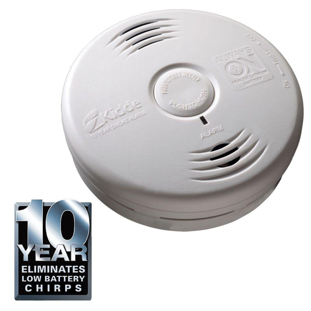 Kidde Worry Free 10-Year Bedroom Sealed Lithium Battery Operated Photoelectric Smoke Alarm with Voice Alert