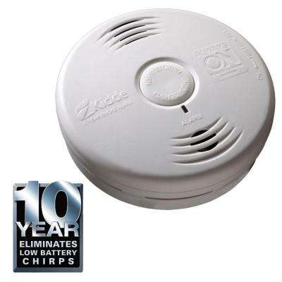 Worry Free 10-Year Bedroom Sealed Lithium Battery Operated Photoelectric Smoke Alarm with Voice Alert
