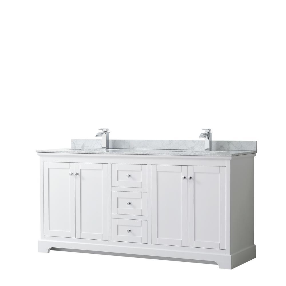 Avery 72 in. W x 22 in. D Bathroom Vanity in White with Marble Vanity Top in White Carrara with White Basins