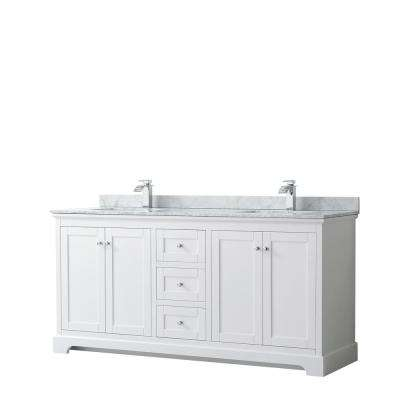 Avery 72 in. W x 22 in. D Bathroom Vanity in White with Marble Vanity Top in White Carrara with White Basins