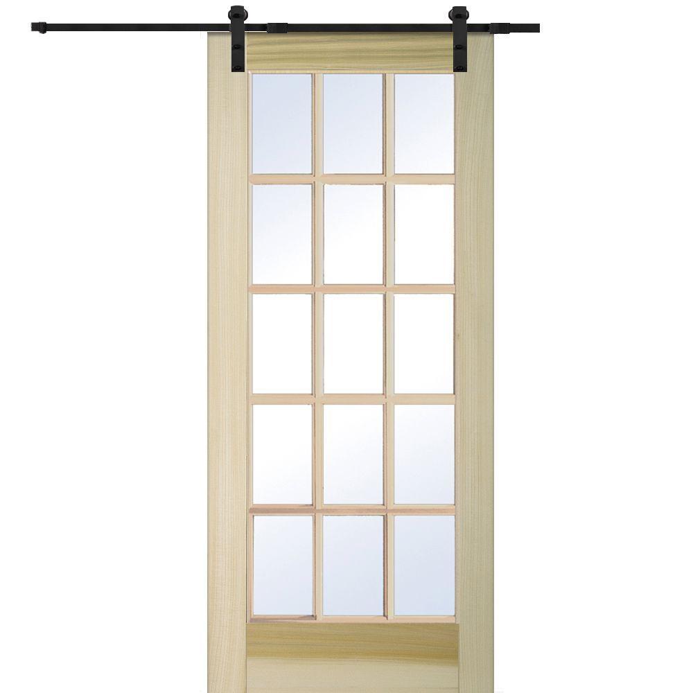 MMI Door 36 In. X 80 In. Poplar 15 Lite Door With Barn