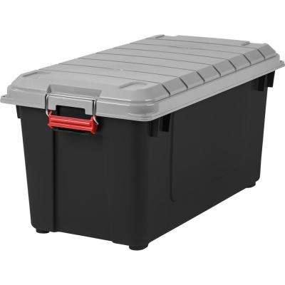 82 Qt. Weathertight Store-It-All Storage Bin in Black (4-Pack)