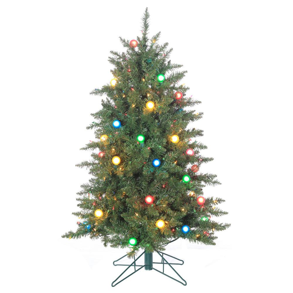 STERLING. 4.5 ft. Pre-Lit Reno Pine Artificial Christmas Tree with Glass Bulbs
