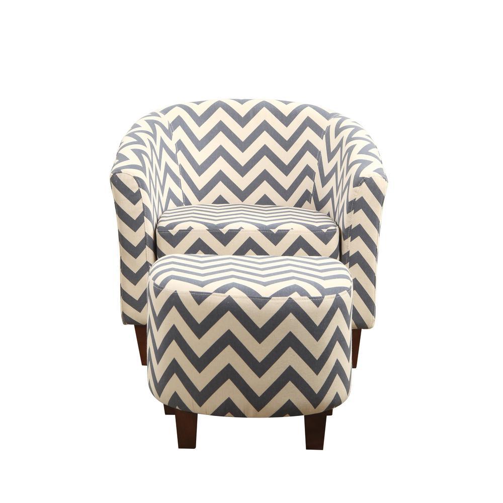 Multi-Colored Chevron Tub Chair with Ottoman