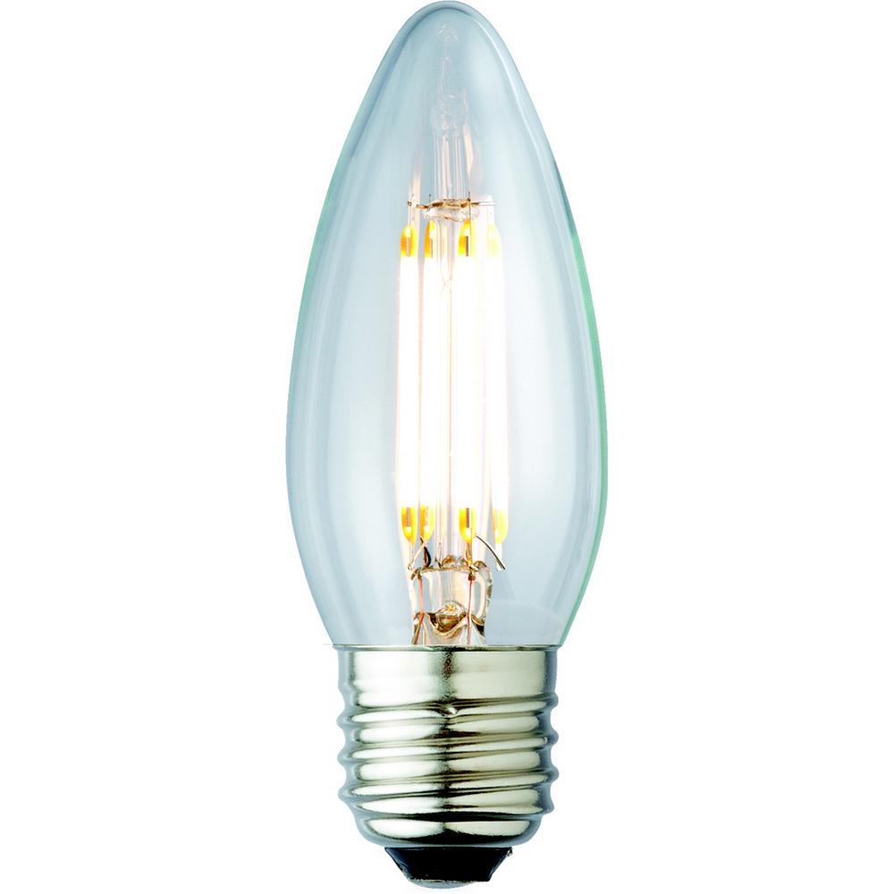 40w equivalent soft white b10 clear lens nostalgic candelabra blunt tip dimmable led light bulb