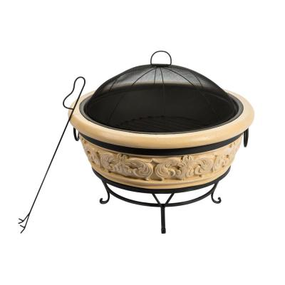 Outdoor 27 in. x 22.8 in. Round Intricate Design Wood Burning Fire Pit