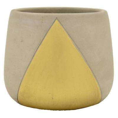 6 in. Planter - Grey/Gold