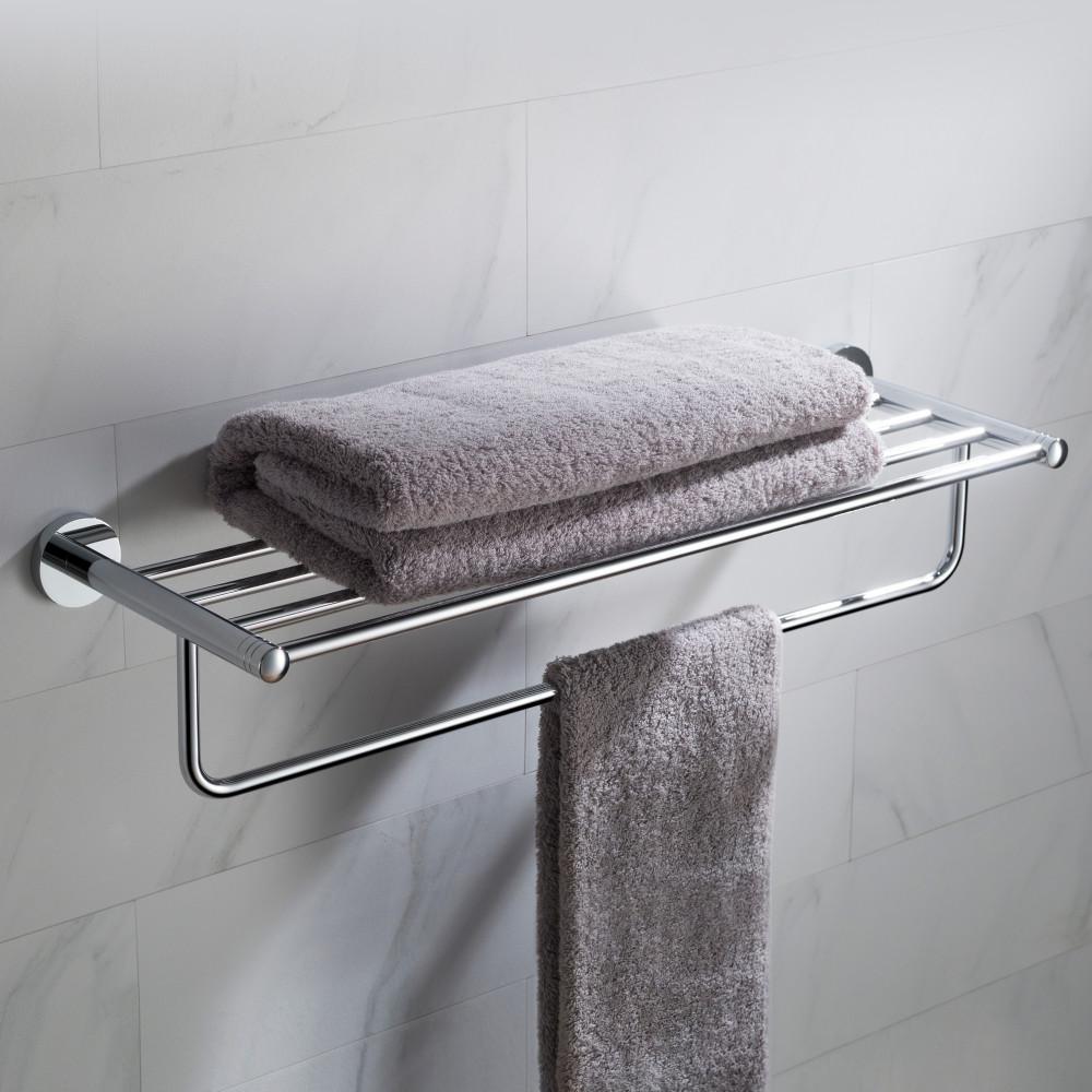 Elie Bathroom Shelf with Towel Bar in Chrome
