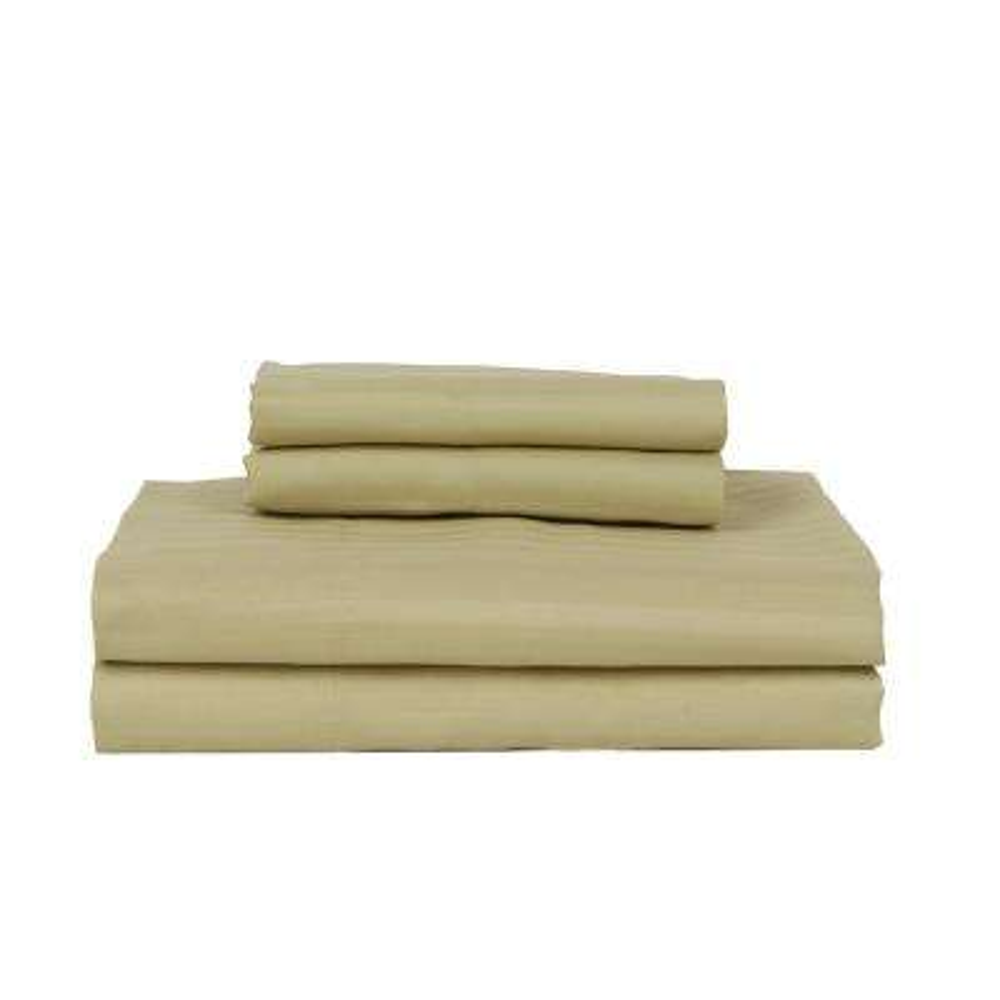 4-Piece Green Striped 450 Thread Count Cotton Queen Sheet Set