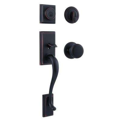 Hawthorne Venetian Bronze Single Cylinder Door Handleset with Juno Door Knob Featuring SmartKey Security