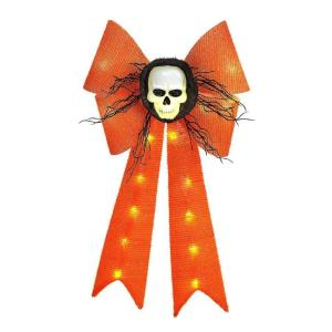 26 in. Battery-Operated Orange Bow with Skull