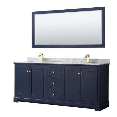 Avery 80 in. W x 22 in. D Bath Vanity in Dark Blue with Marble Vanity Top in White Carrara with White Basins and Mirror