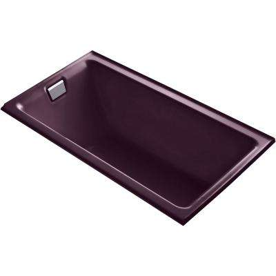 Tea-for-Two 66 in. Left-Hand Drain Rectangular Alcove Bathtub in Black Plum