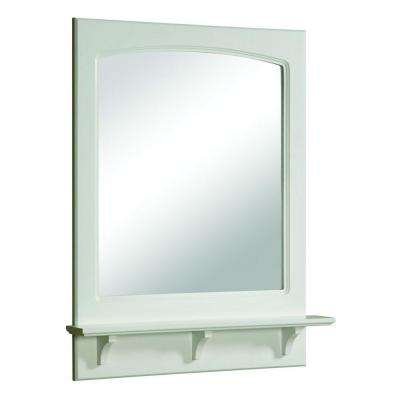 Concord 31 in. H x 24 in. W Framed Wall Mirror with Shelf in White Gloss