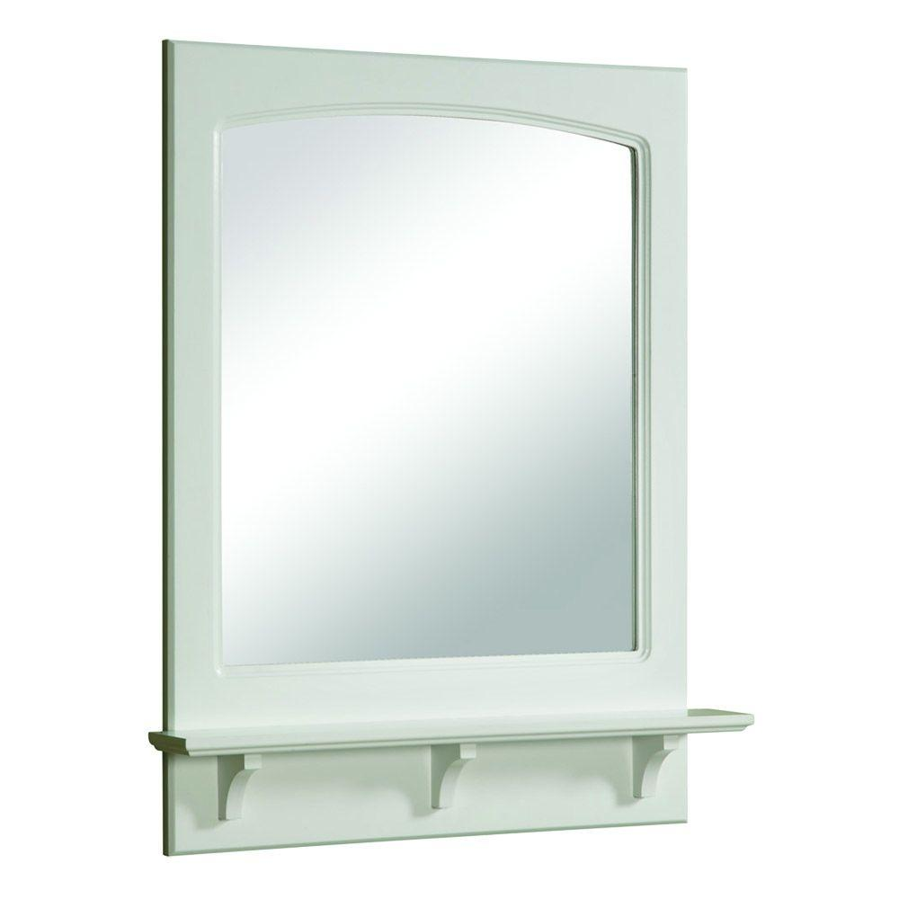 Design House Concord 31 in. H x 24 in. W Framed Wall Mirror with Shelf in White Gloss