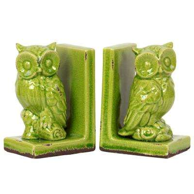 8.5 in. H Owl Decorative Figurine in Green Gloss Distressed Finish (Set of 2)
