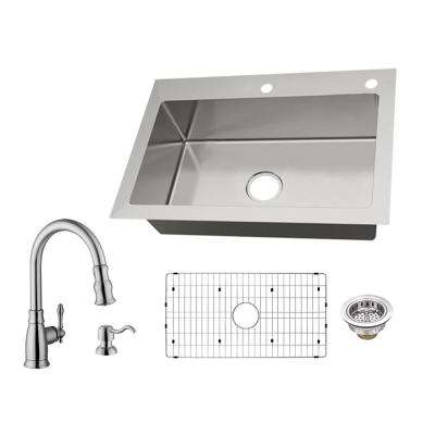 All-in-One Dual Mount 18-Gauge Stainless Steel 33 in. 2-Hole Single Bowl Kitchen Sink with Pull-Out Kitchen Faucet