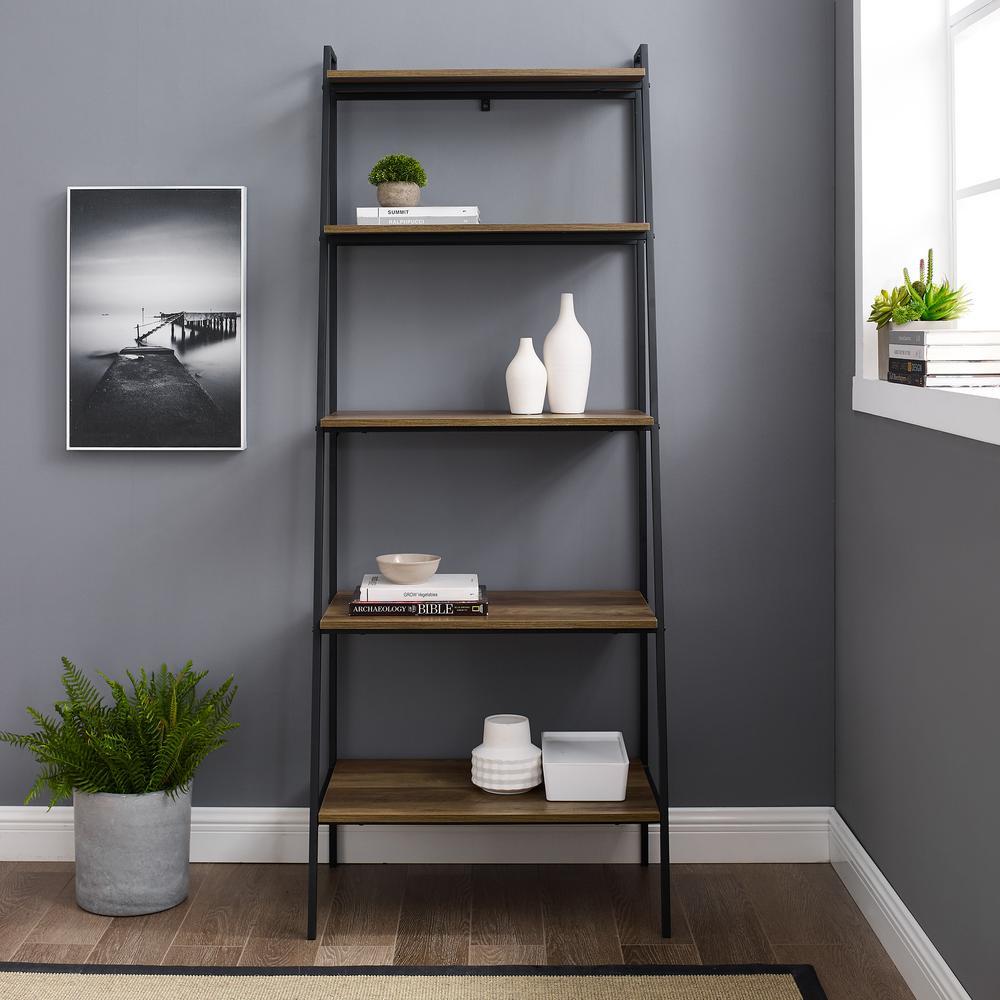 72 in. Reclaimed Barnwood Modern Ladder Bookcase