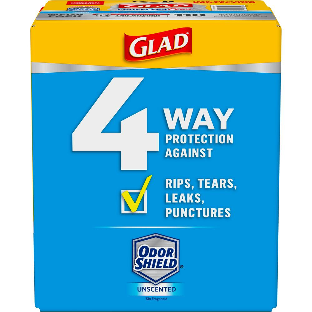 Glad 13 Gal Forceflex Tall Kitchen Drawstring Trash Bags 110 Count