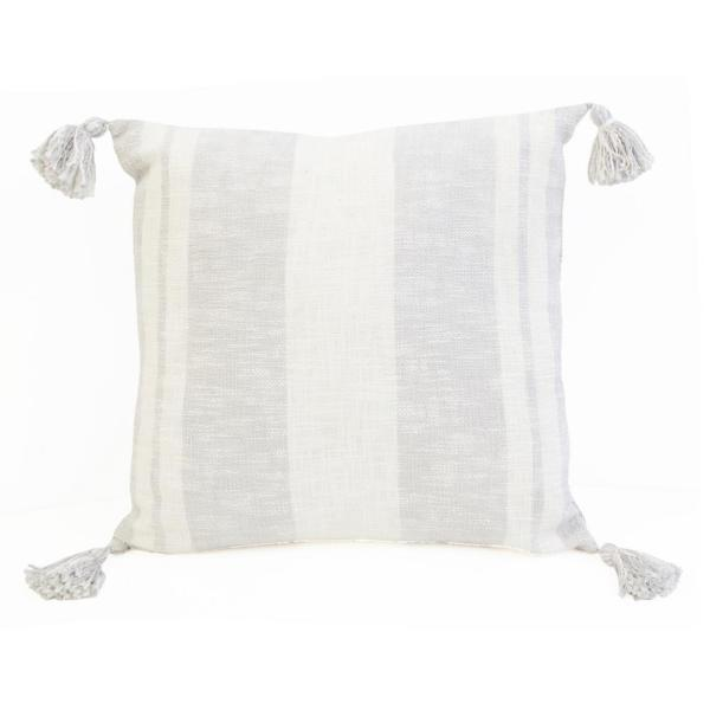 Decor Therapy Sophia Stripe 20 X 20 Vapor Corner Tassel Throw Pillow Th019405003e The Home Depot