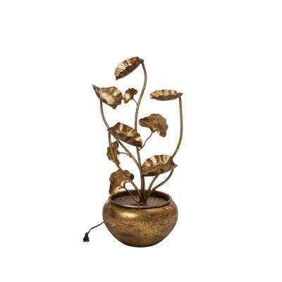 31.89 in. H Antique Metal Tiered Lotus Fountain