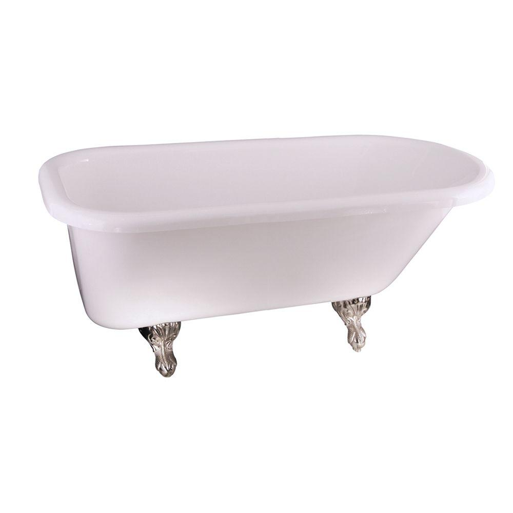 Barclay 5.6 ft. Acrylic Claw Foot Roll Top Tub in White w...