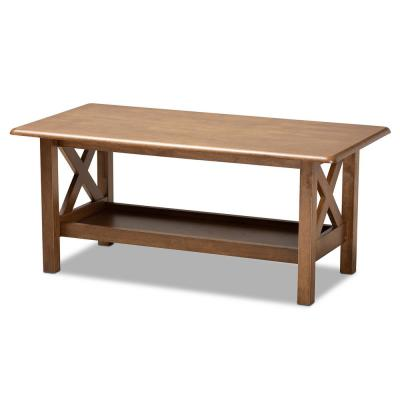 Reese 41 in. Brown Large Rectangle Wood Coffee Table with Shelf
