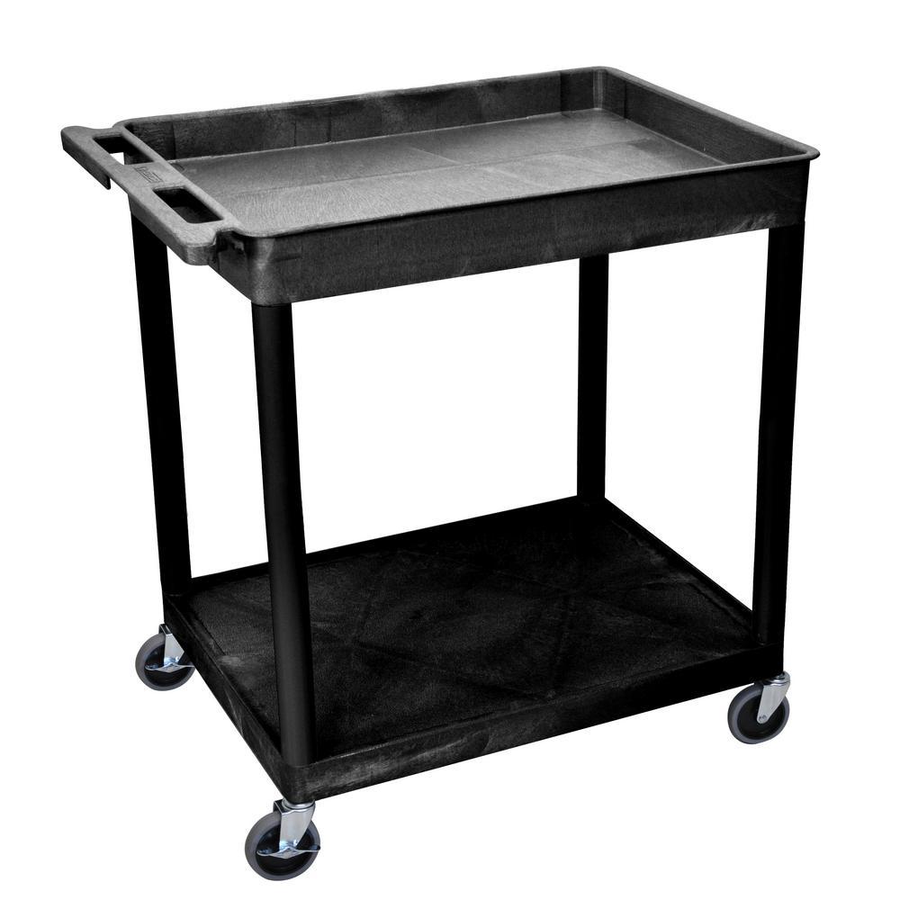 TC 32 in. 2-Shelf Utility Cart in Black