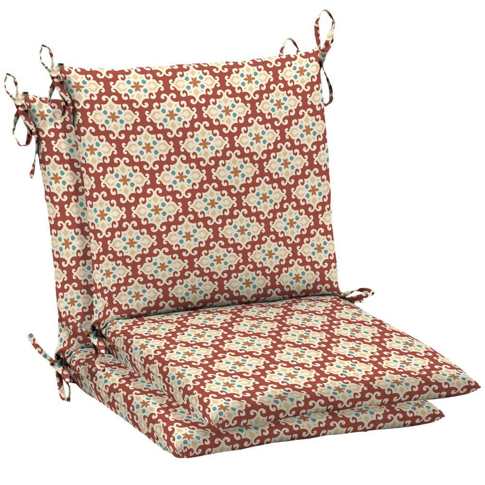 Arden Melodie Multi Cherry Mid Back Outdoor Chair Cushion 2 Pack-DISCONTINUED