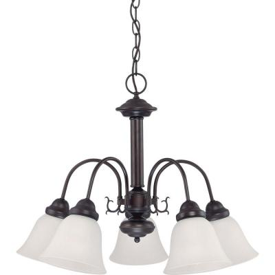 5-Light Mahogany Bronze Chandelier with Frosted White Glass Shade