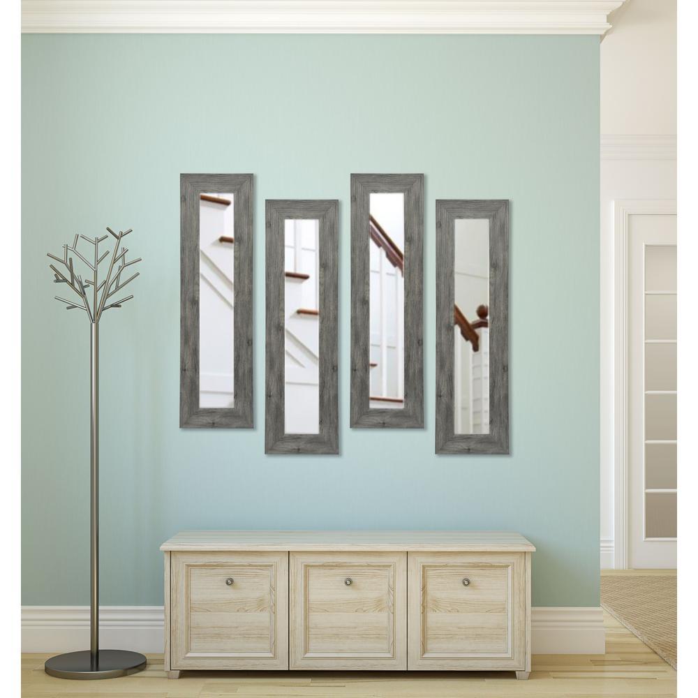 11.5 inch x 32.5 inch Gray Barnwood Vanity Mirror (Set of 4-Panels) by