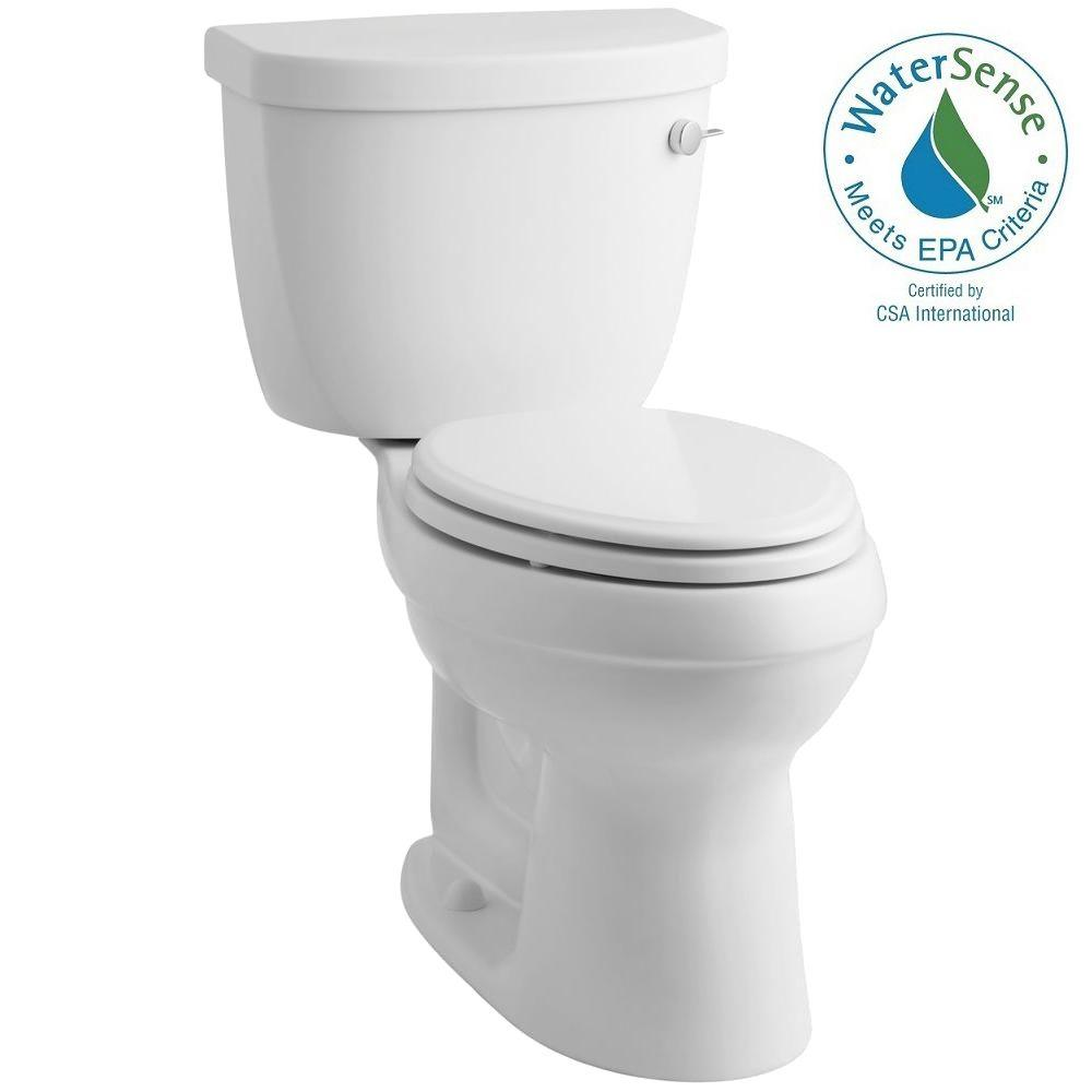 KOHLER Cimarron 2-piece 1.28 GPF Elongated Toilet with AquaPiston Flushing Technology in White