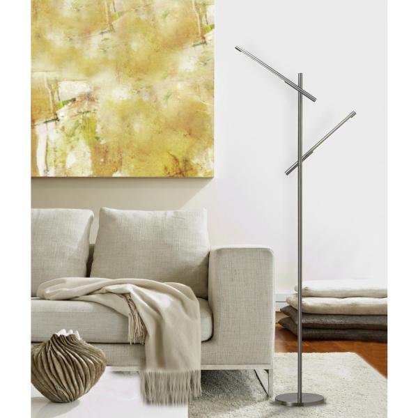 Hampton Bay Floor Lamp 60in LED Brushed Nickel Dual Stylish Durable Dimmable