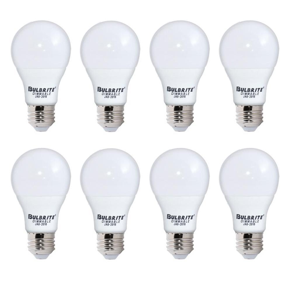 Bulbrite 60-Watt Equivalent Soft White Light Frost A19 Dimmable UL Enclosed JA8 LED Light Bulb (8-Pack)