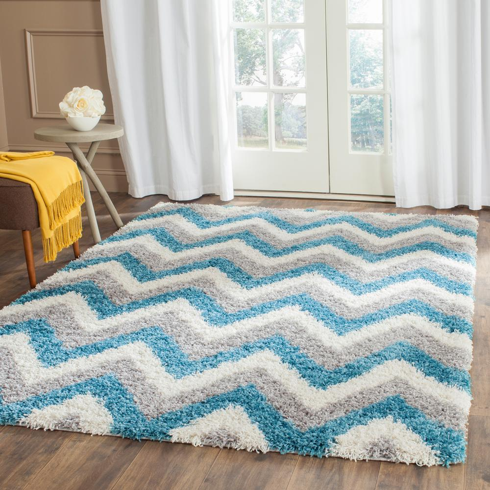 Kids Shag Ivory/Blue 8 ft. 6 in. x 12 ft. Area Rug