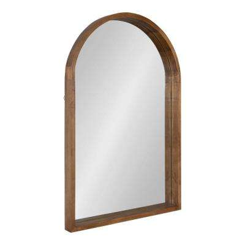 Hutton 36 in. x 24 in. Modern Arch Rustic Brown Wall Mirror