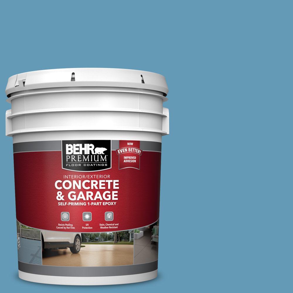 5 gal. #S490-4 Yacht Blue 1-Part Epoxy Satin Interior/Exterior Concrete and Garage Floor Paint