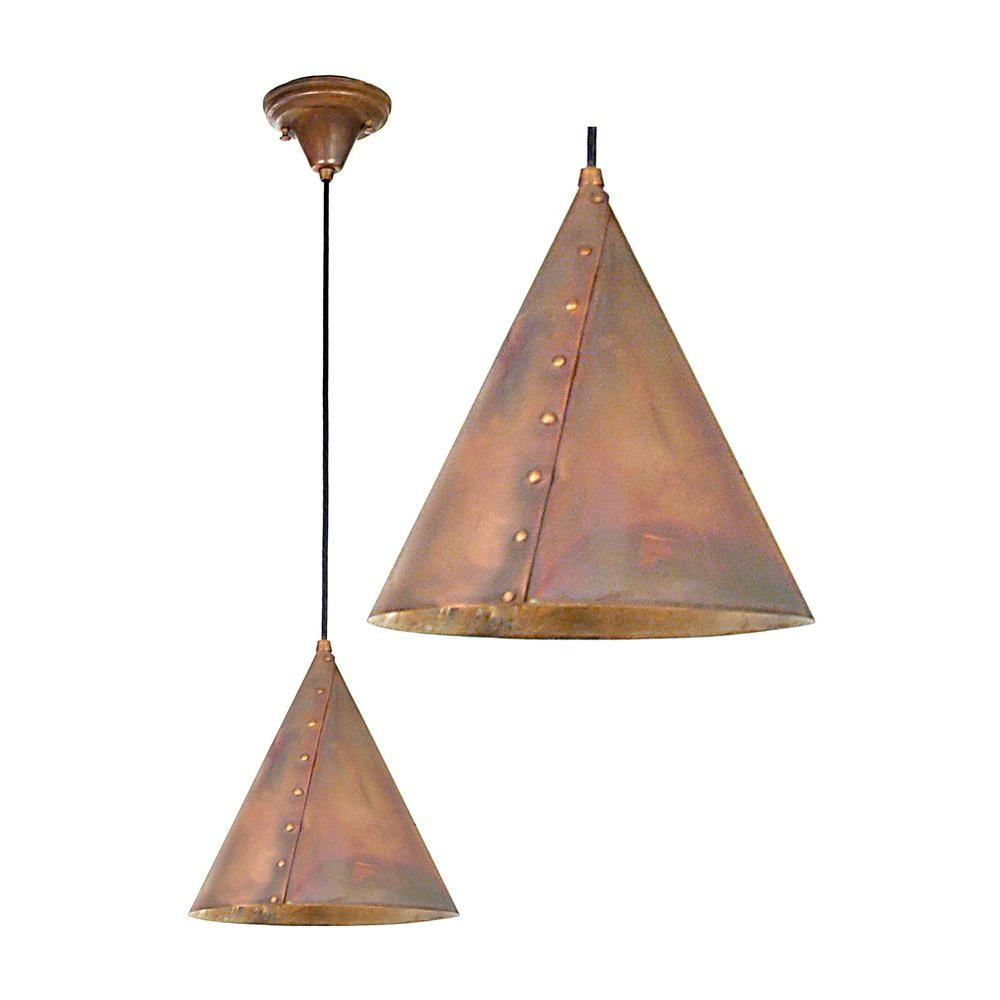 Illumine 1 Light Cone Rivet Pendant Craftsman Mottled Finish Fabric Glass