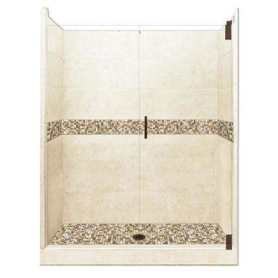 Roma Grand Hinged 42 in. x 48 in. x 80 in. Center Drain Alcove Shower Kit in Desert Sand and Old Bronze Hardware